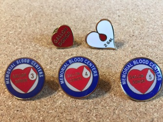 Blood donor pins